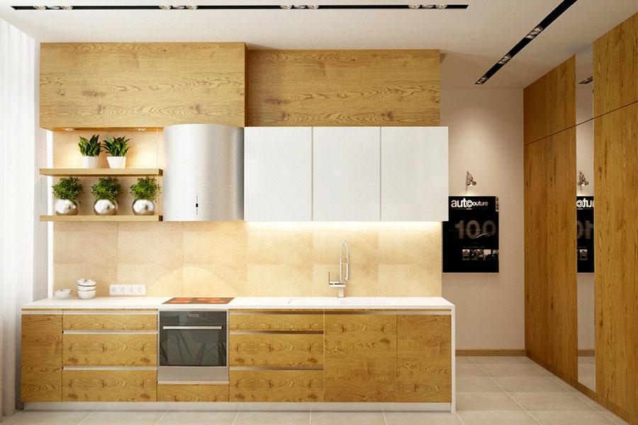 Modello di cucina bianca e legno moderna n.17