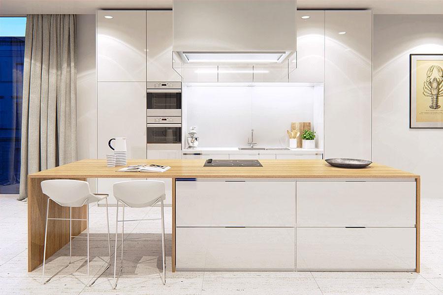 Modello di cucina bianca e legno moderna n.18