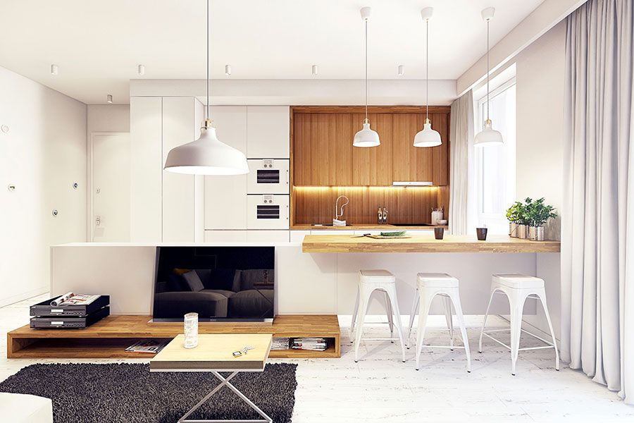 Modello di cucina bianca e legno moderna n.19