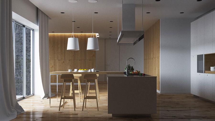 Modello di cucina bianca e legno moderna n.20