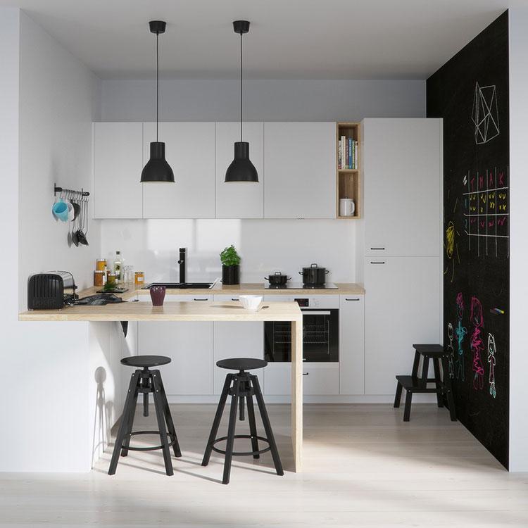 Modello di cucina bianca e legno moderna n.21