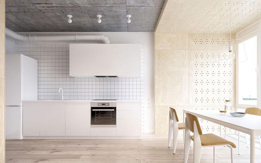 Modello di cucina bianca e legno moderna n.22