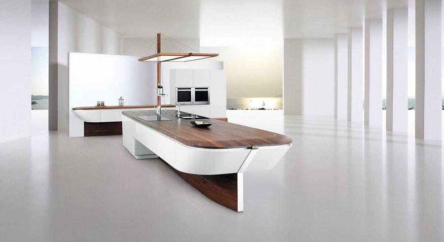 Modello di cucina bianca e legno moderna n.23