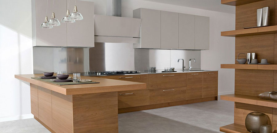 Modello di cucina bianca e legno moderna n.25