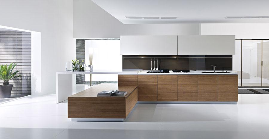 Modello di cucina bianca e legno moderna n.26