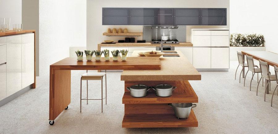 Modello di cucina bianca e legno moderna n.27