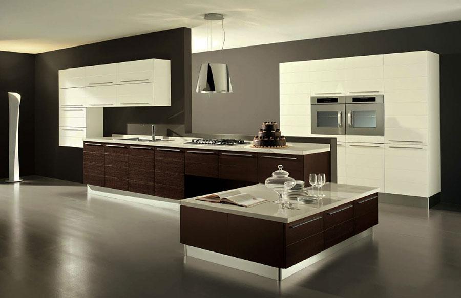 Modello di cucina bianca e legno moderna n.29