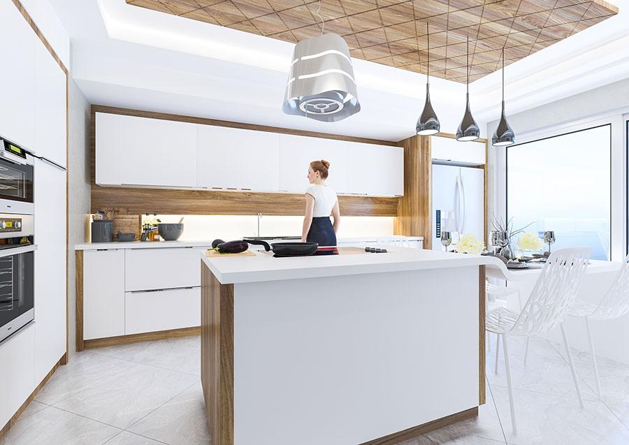 Modello di cucina bianca e legno moderna n.32