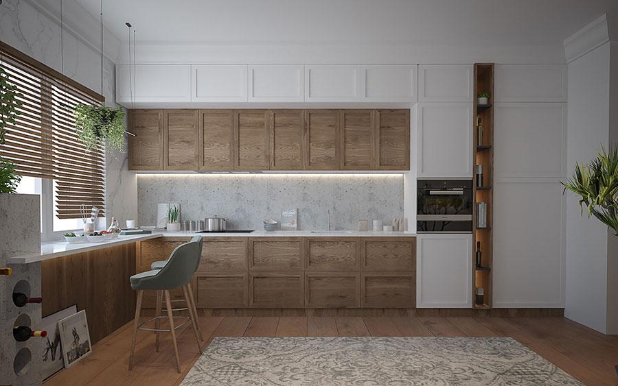 Modello di cucina bianca e legno moderna n.33