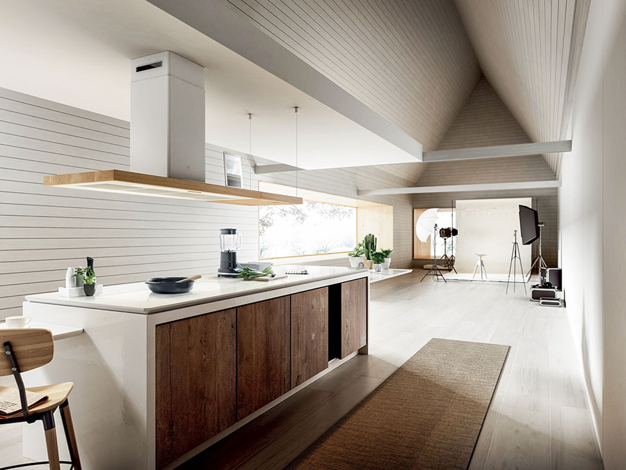 Modello di cucina bianca e legno moderna n.34