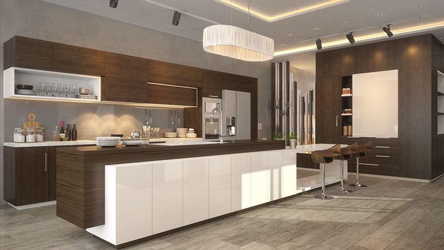 Modello di cucina bianca e legno moderna n.35