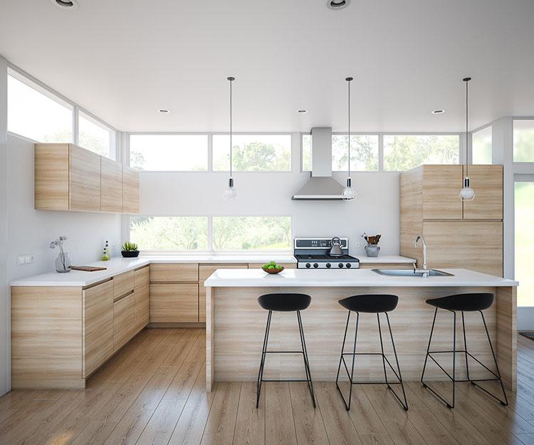 Modello di cucina bianca e legno moderna n.36