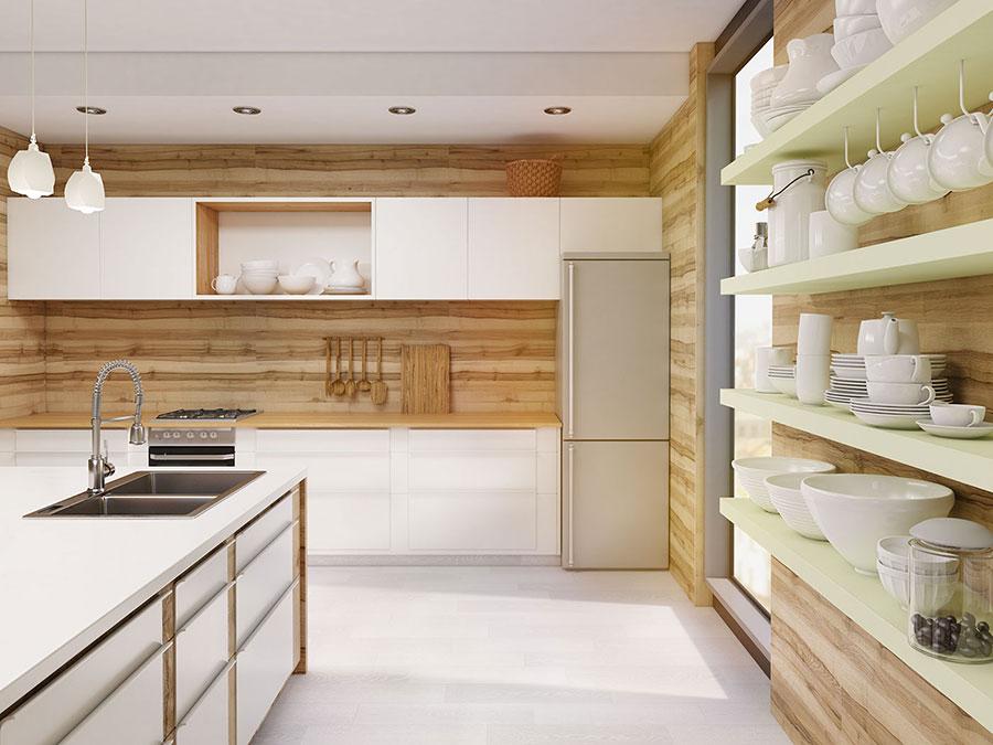 Modello di cucina bianca e legno moderna n.37