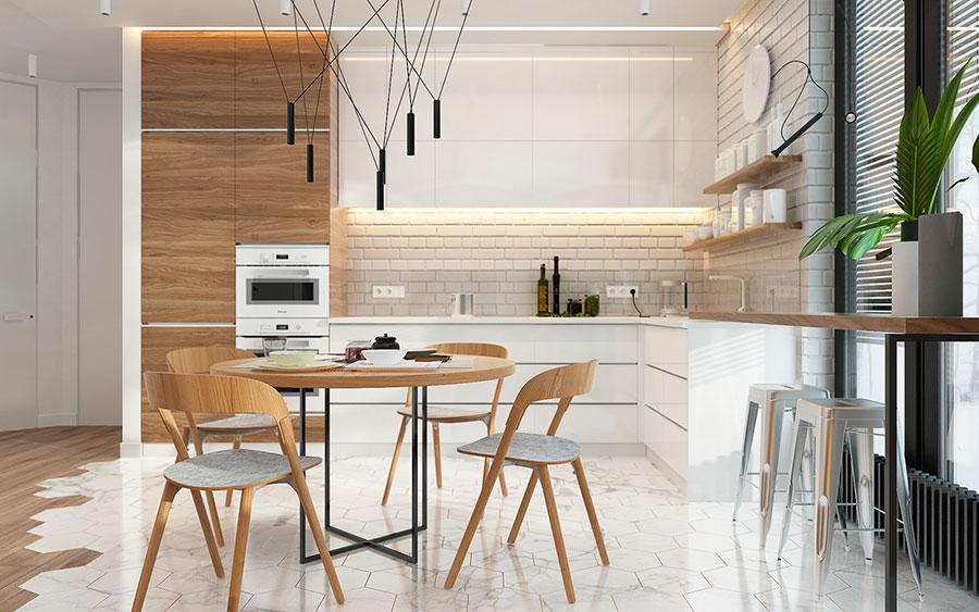 Modello di cucina bianca e legno moderna n.38
