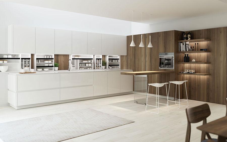 Modello di cucina bianca e legno moderna n.40