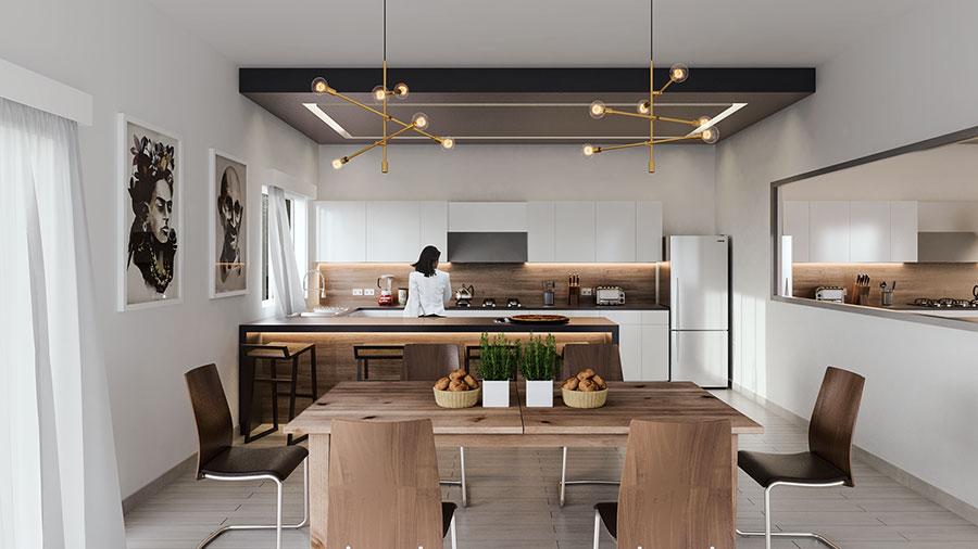 Modello di cucina bianca e legno moderna n.41