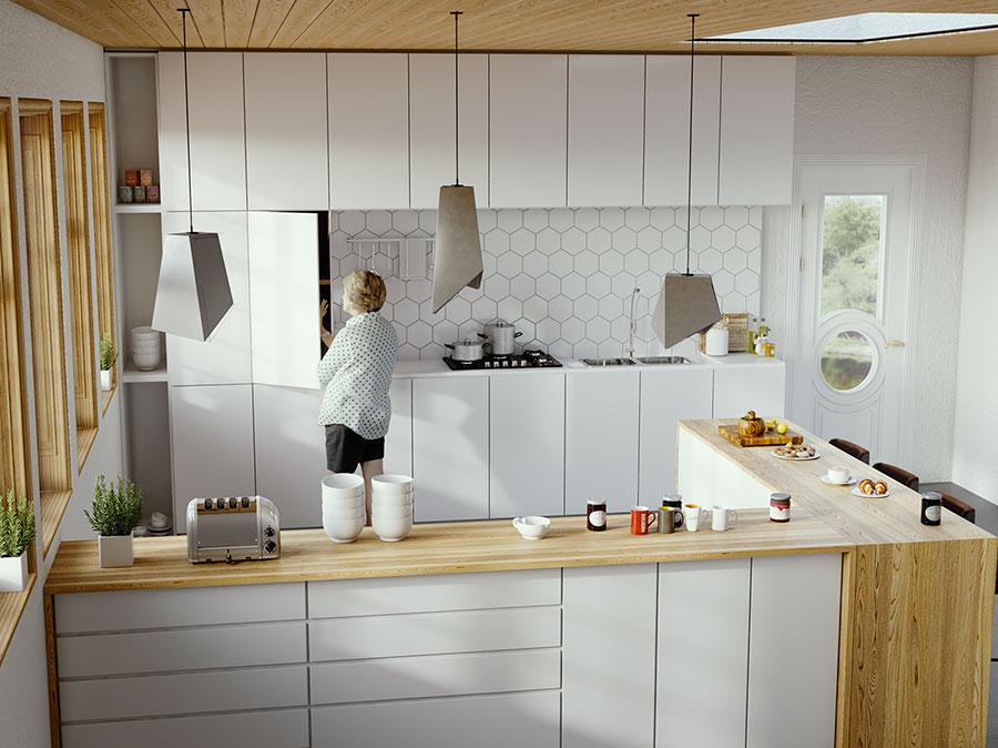 Modello di cucina bianca e legno moderna n.42
