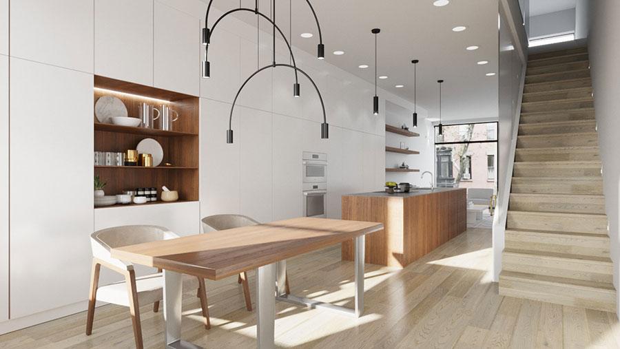 Modello di cucina bianca e legno moderna n.43