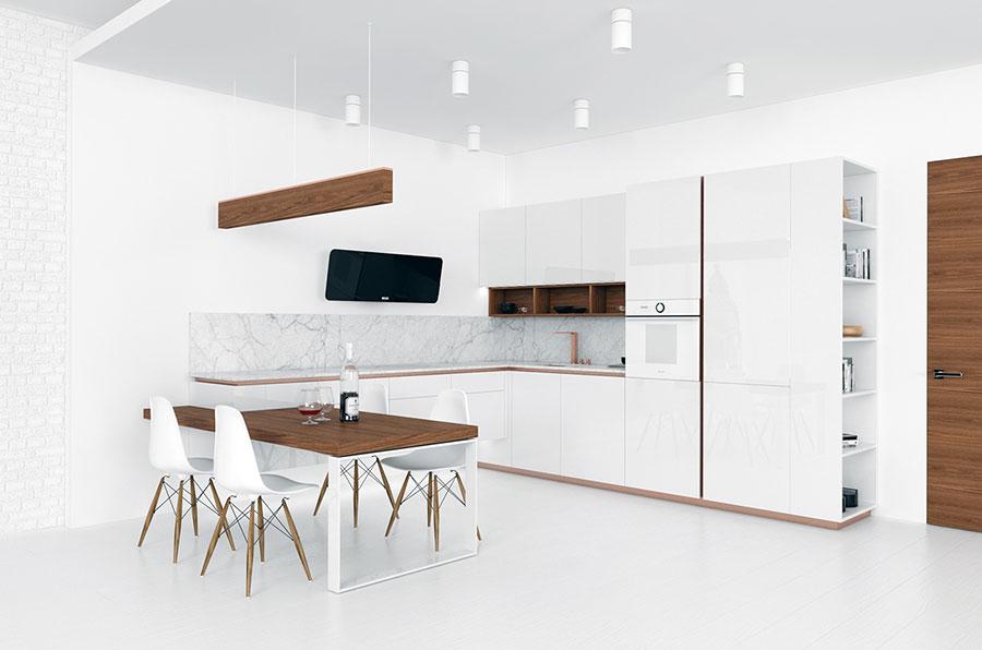 Modello di cucina bianca e legno moderna n.44