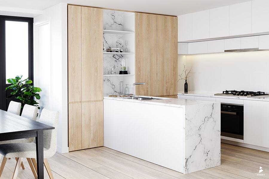 Modello di cucina bianca e legno moderna n.45