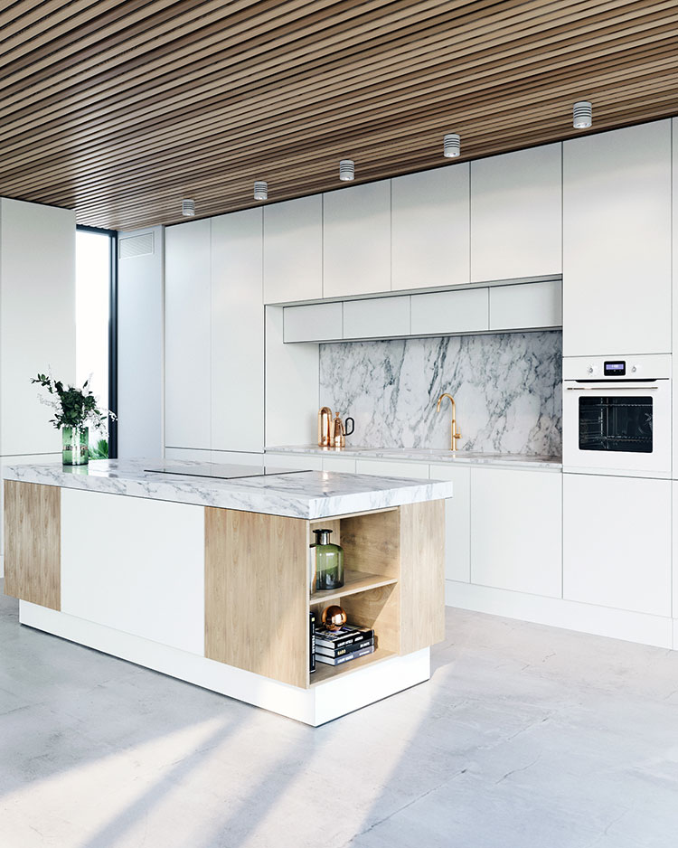 Modello di cucina bianca e legno moderna n.46