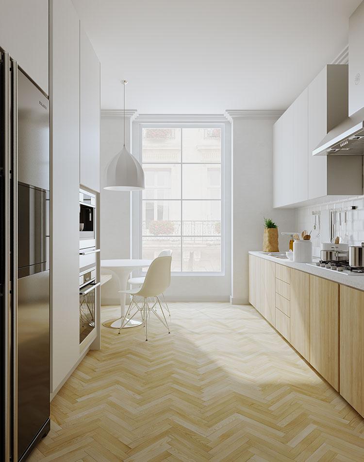 Modello di cucina bianca e legno moderna n.47