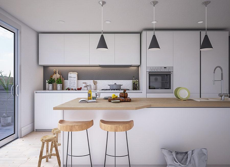 Modello di cucina bianca e legno moderna n.48