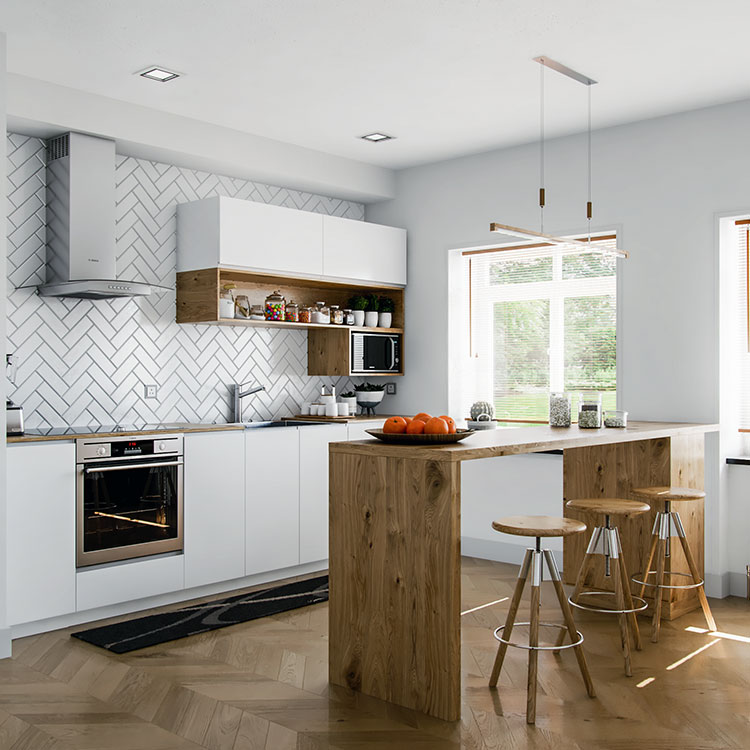 Modello di cucina bianca e legno moderna n.49
