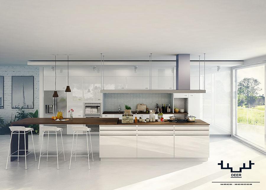 Modello di cucina bianca e legno moderna n.50
