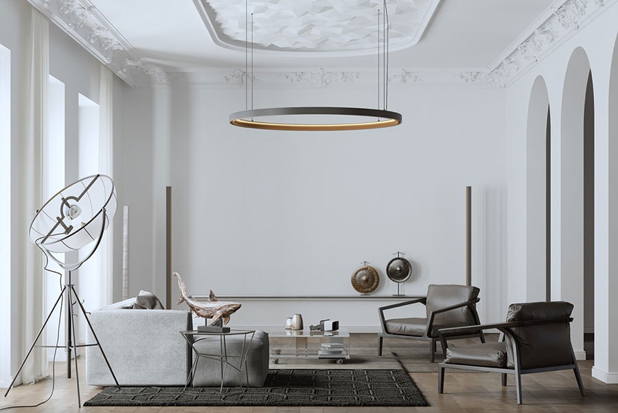 Salotto arredato in stile vintage - contemporaneo n.04