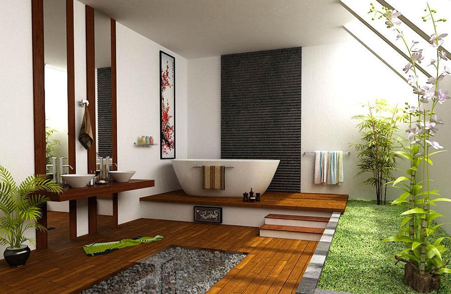 Bagno arredato in stile giapponese n.01