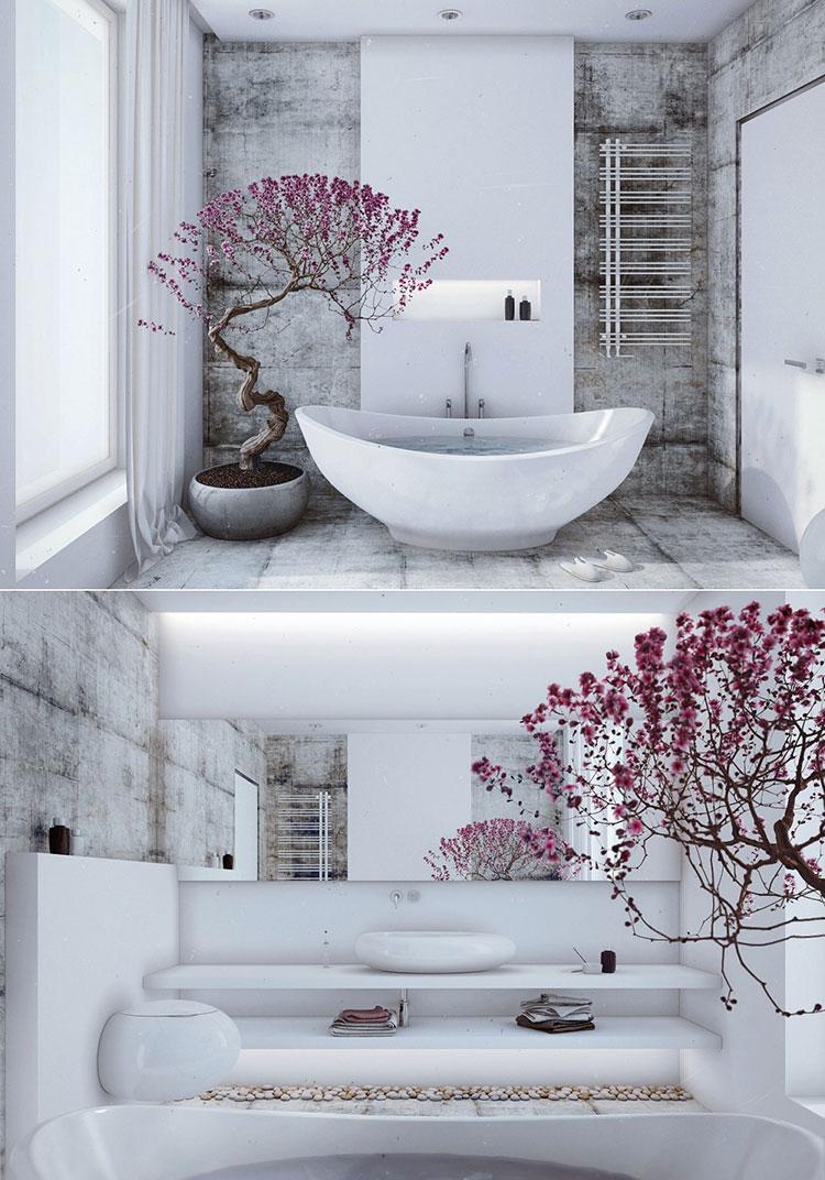 Bagno arredato in stile giapponese n.02
