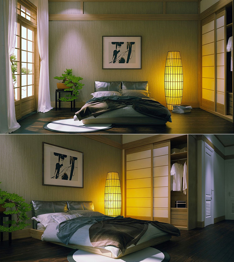 Camera da letto arredata in stile giapponese n.01