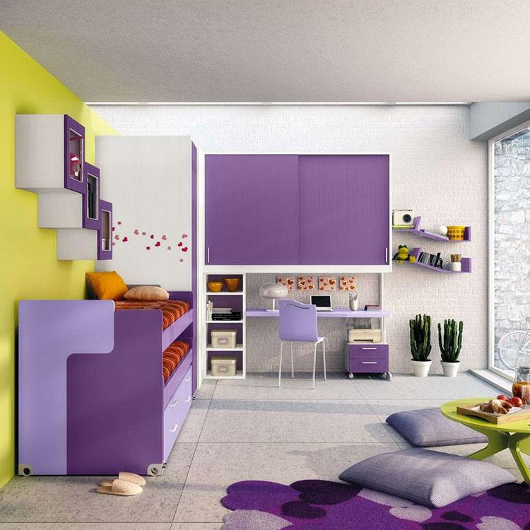 Modello di cameretta viola per bambine n.09