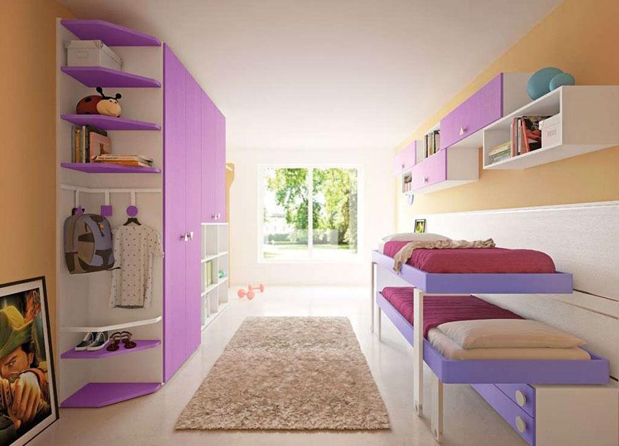 Modello di cameretta viola per bambine n.10