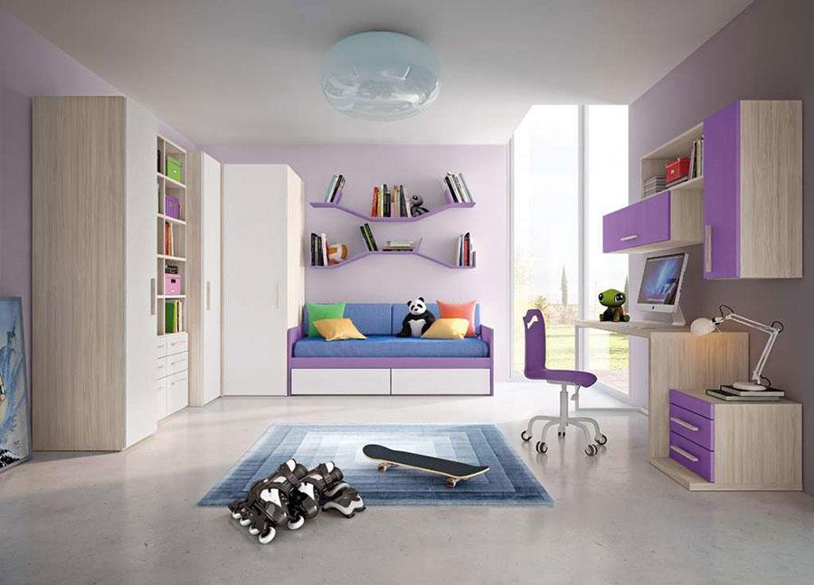 Modello di cameretta viola per bambine n.14