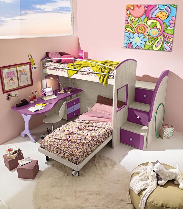 Modello di cameretta viola per bambine n.19