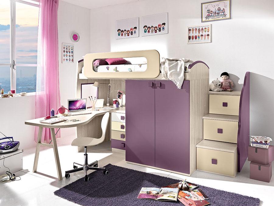 Modello di cameretta viola per bambine n.20
