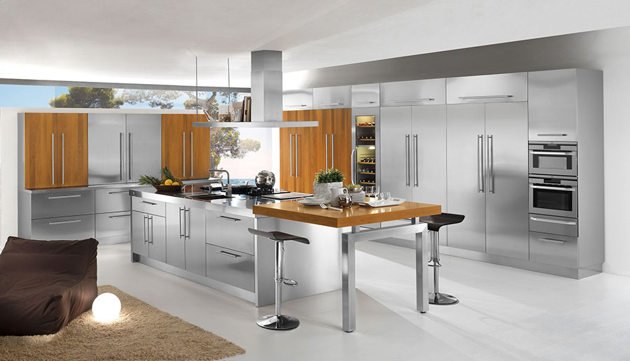 Cucina in acciaio moderna in stile industriale n.01