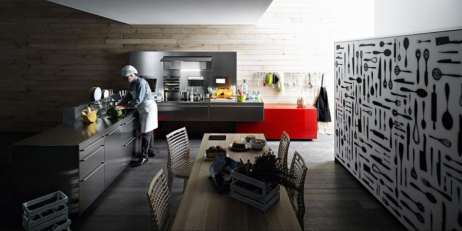 Cucina in acciaio moderna in stile industriale n.12
