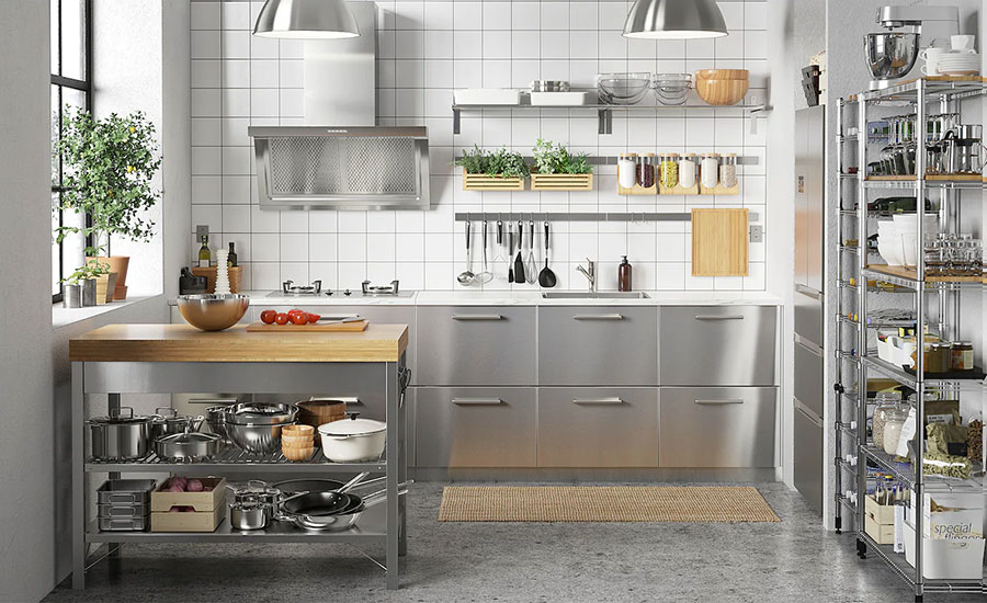Modello di cucina in acciaio di Ikea n.03