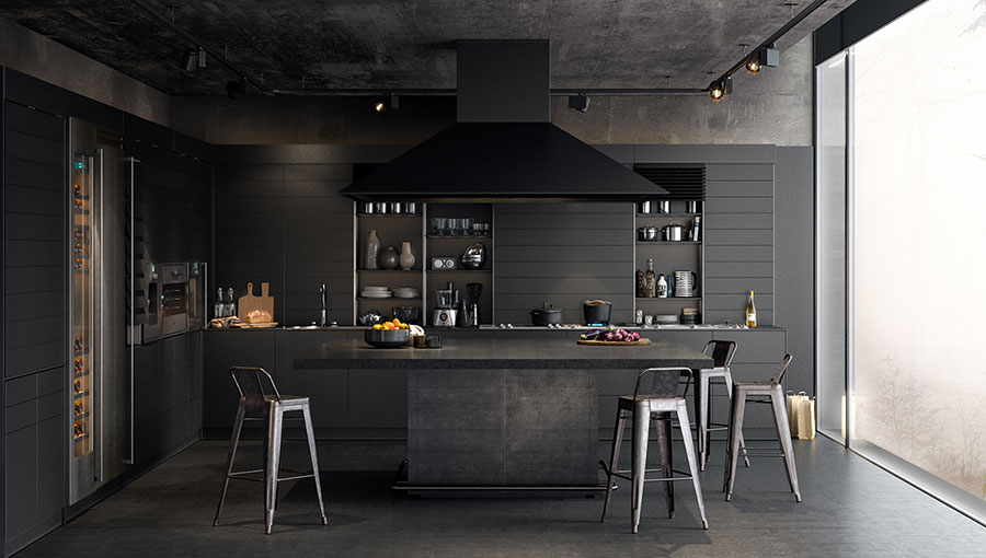 Modello di cucina nera di design n.01