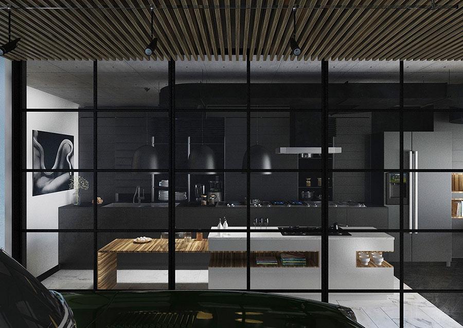 Modello di cucina nera di design n.02