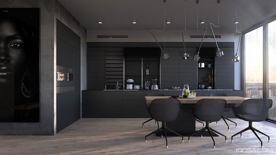 Modello di cucina nera di design n.03