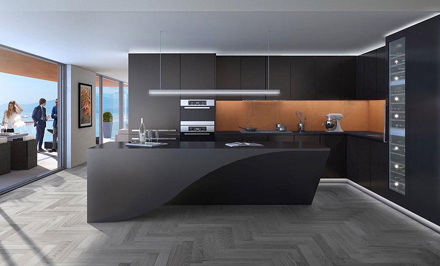Modello di cucina nera di design n.04