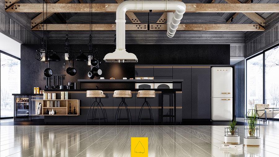 Modello di cucina nera di design n.05