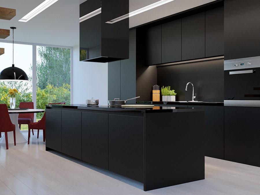Modello di cucina nera di design n.06