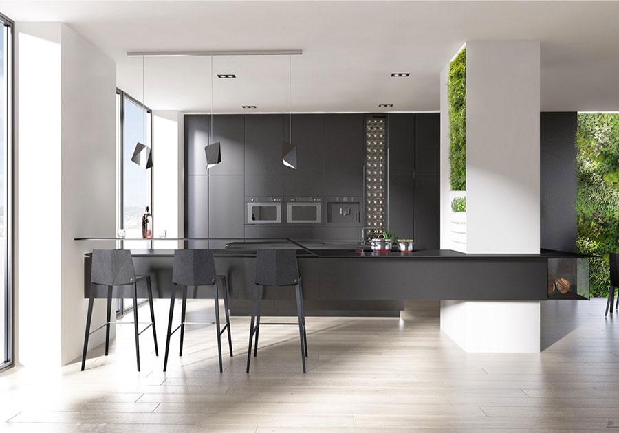Modello di cucina nera di design n.07