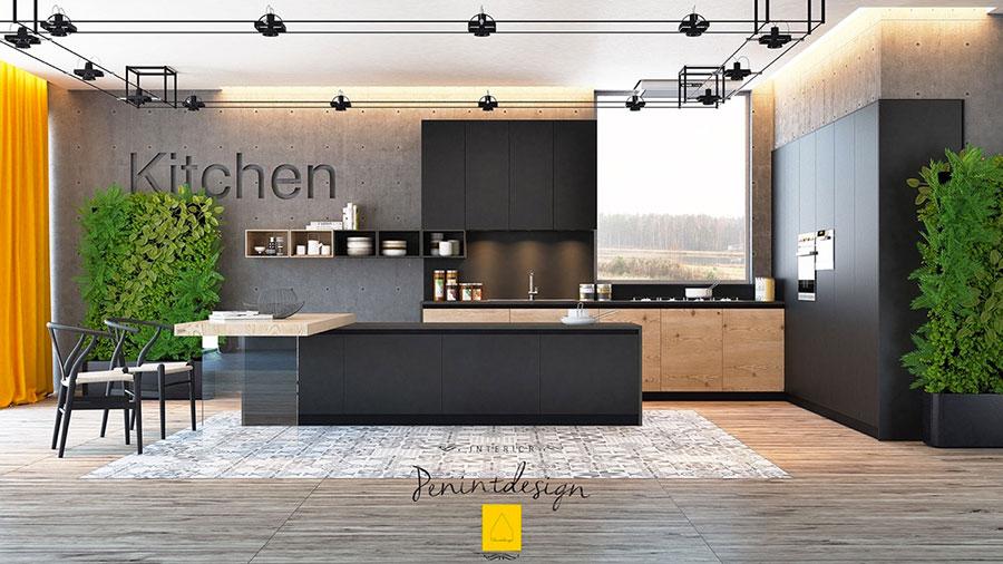 Modello di cucina nera di design n.08