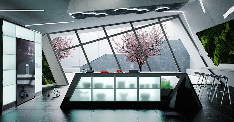 Modello di cucina nera di design n.09
